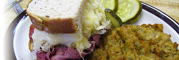 Reuben and potato pancake from Decent Deli