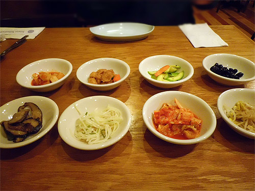 Banchan at Asiana Korean
