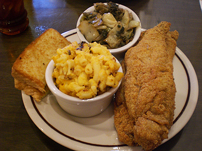 Whiting w/collard greens and mac & cheese