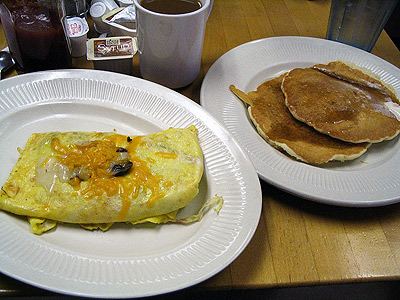 Omelet and pancakes from Bonnie Lynn Bakery