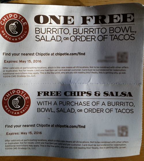 Details: Feel like having Mexican food for dinner today but don't feel like cooking? Chipotle is the answer! They offer delicious Mexican dishes and sauces along with amazing offers! With this coupon, you receive a queso for free with an order of select spreads!