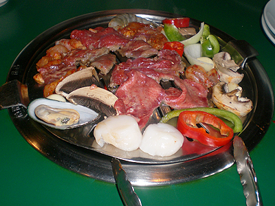 grilled meat and veggies at Chung Kiwha Korean BBQ and Sushi
