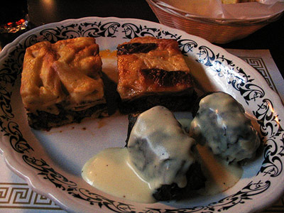 Greek Combo of Pastisto, Moussaka and Dolmades from Corinthian