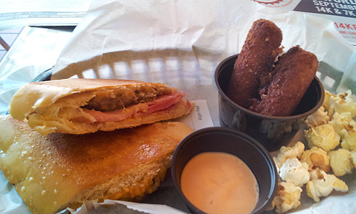 Cincy Cuban sandwich with side of croquetas