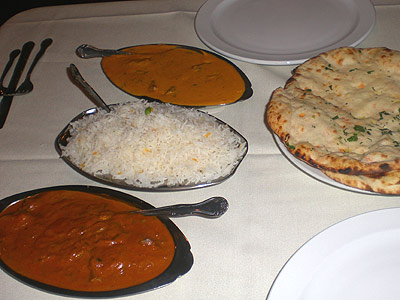 Daata Indian food: Rogan Josh, Vindaloo, rice and Naan