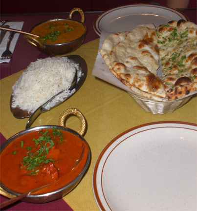Dusmesh Vindaloo, Rogan Josh, Basmati rice and Nan