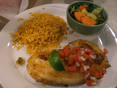 Blackened Tilapia w/vegetable medley and Spanish rice