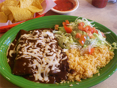 Mole enchiladas from El Jinete