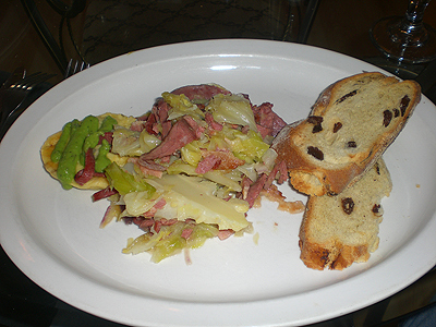 Irish corned beef and cabbage at Europa
