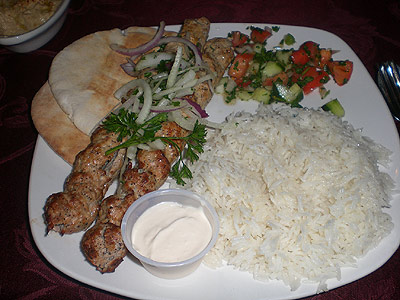 Chicken Lula with rice pilaf and salad