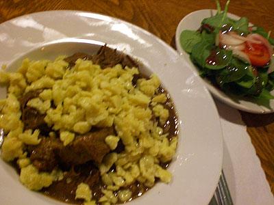 Beef stroganoff w/side salad