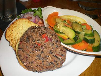 Veggie burger at Olives