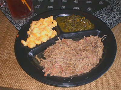 Pulled pork, mac & cheese and collard greens from Pit To Plate BBQ