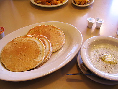Pancakes and grits from Pleasant Ridge Chili