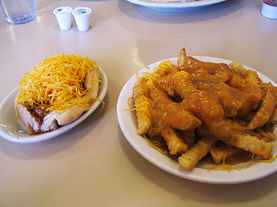 Cheese coney and gravy cheese french fries from Pleasant Ridge Chili