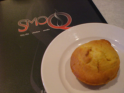 menu and cornbread muffin