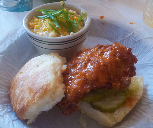 Nashville Hot chicken biscuit sandwich w/cheddar grits