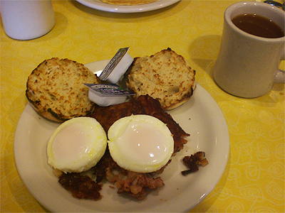 Corned beef hash, poached eggs and an English muffin from Sugar 'N Spice