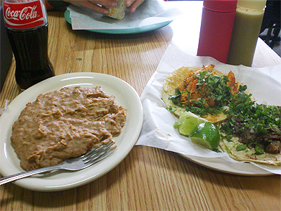 Taqueria Mercado tacos and refried beans