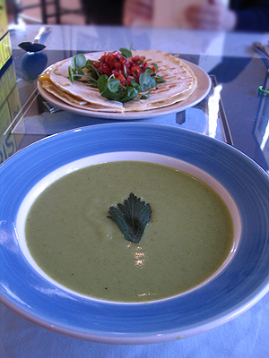 Watercress Vichyssoise and Mango Quesadilla